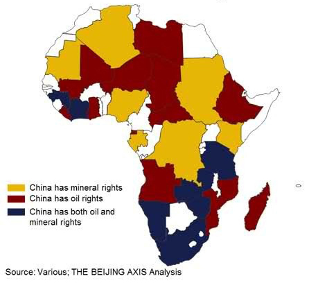 African Countries where  China now has Oil or Mineral Rights